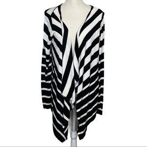 Belldini Open Front Stripe Print Cardigan Sweater